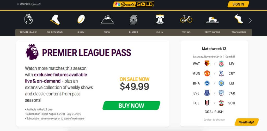 NBC Sports Gold Premier League Pass