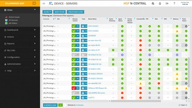 SolarWinds NCentral screen