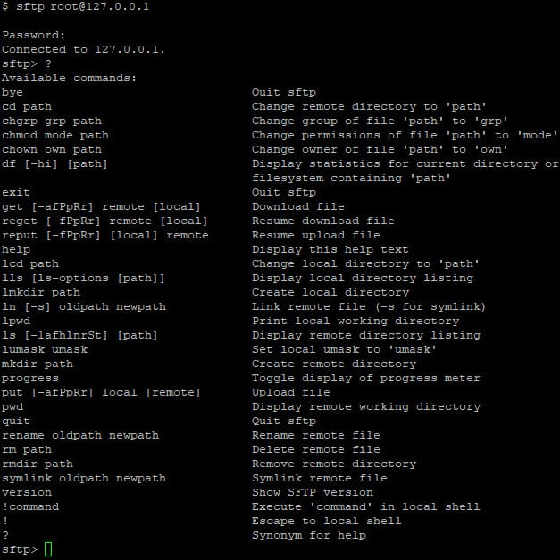 command line sftp example screenshot