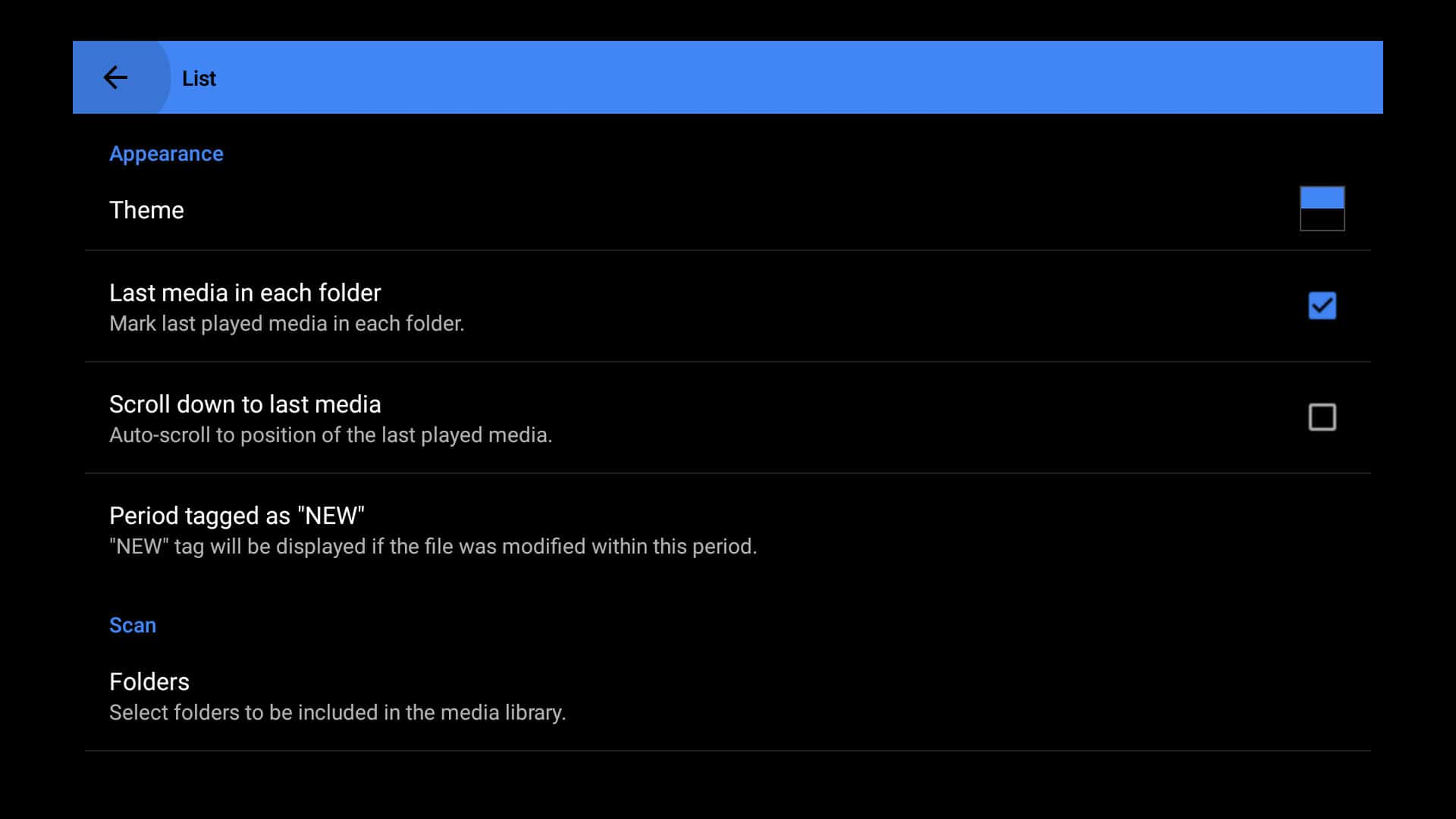 MX Player settings menu