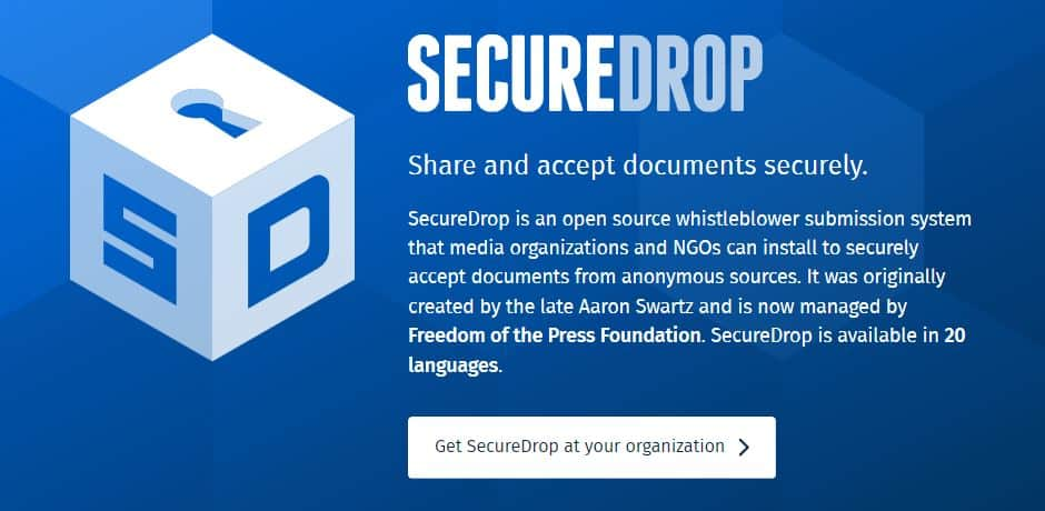 SecureDrop homepage.