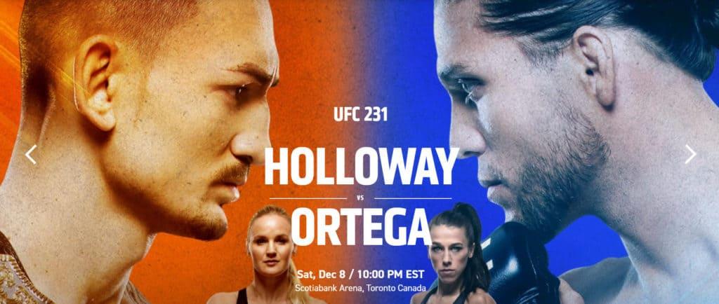 UFC 231 ortega vs holloway