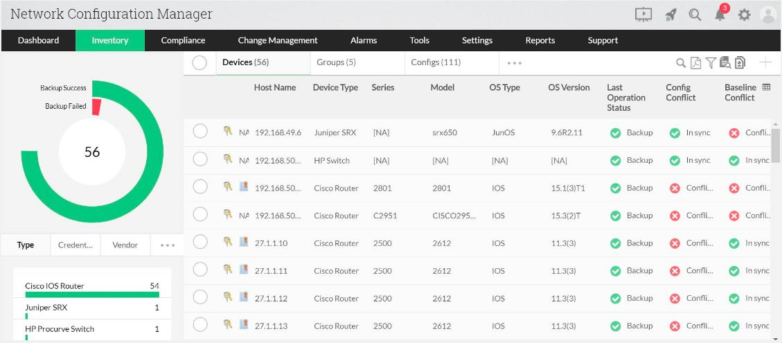 ManageEngine Network Configuration Manager - Inventory view