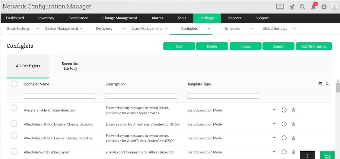 ManageEngine Network Configuration Manager - Settings view
