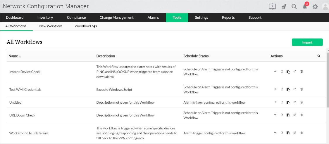 ManageEngine Network Configuration Manager - Tools view