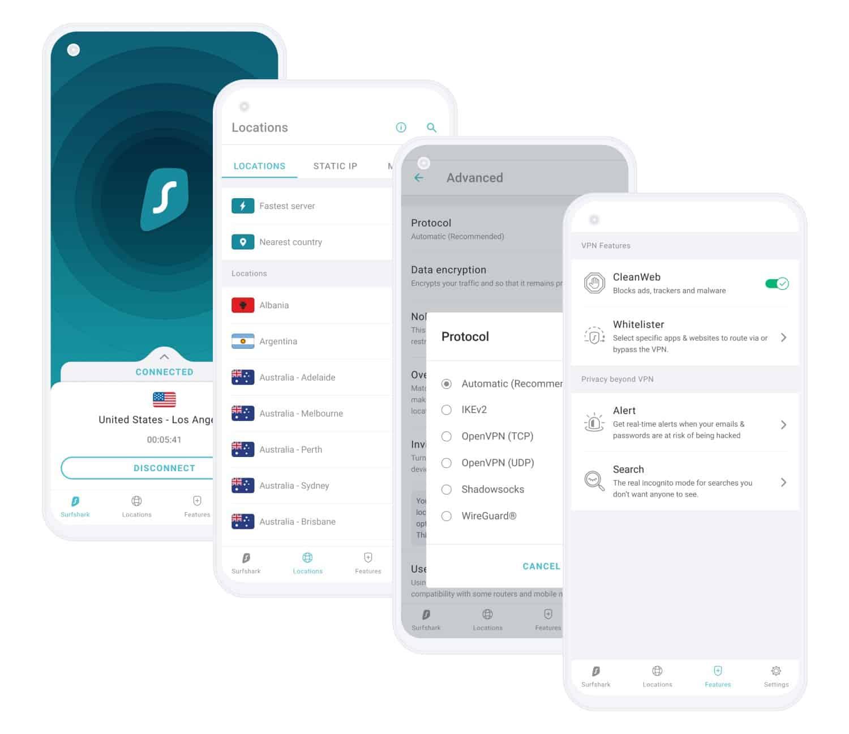 surfshark mobile app screen