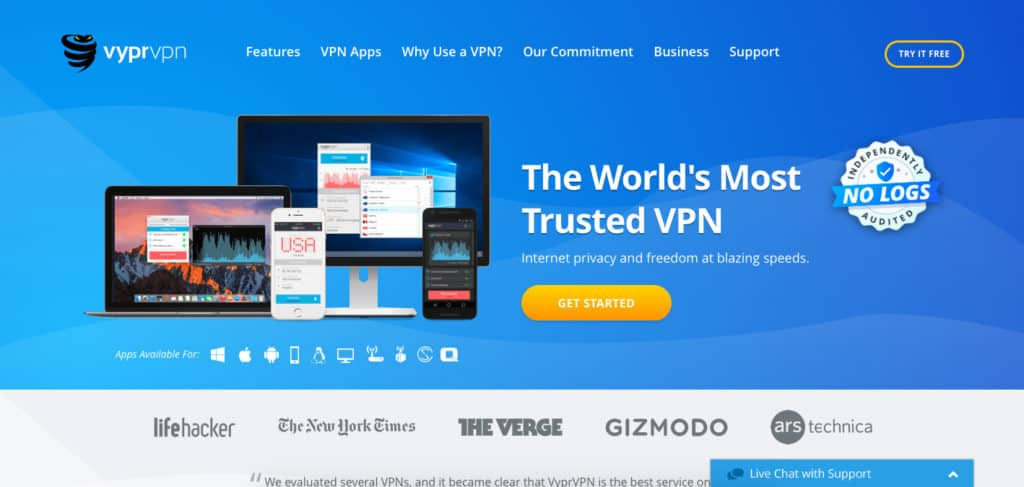 VyprVPN homepage screenshot