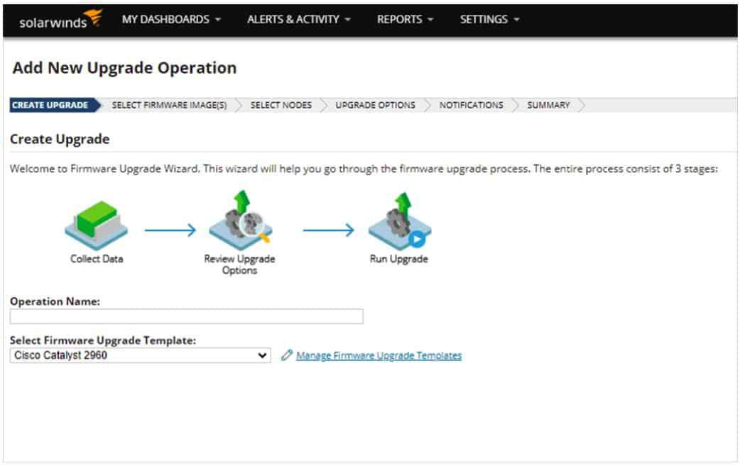 SolarWinds Network Configuration Manager - Add New Upgrade Operation view