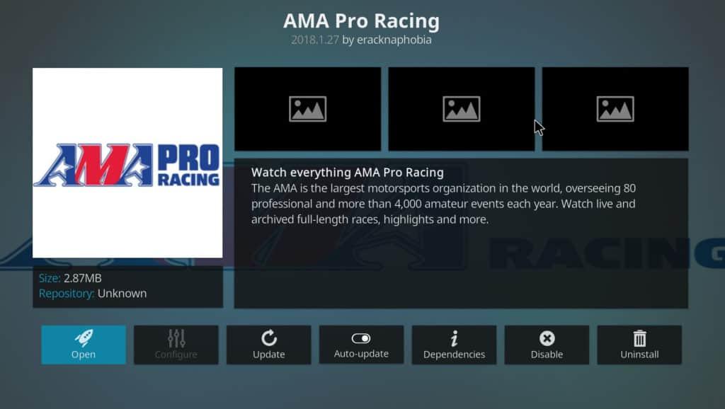 AMA Pro Racing Kodi Addon