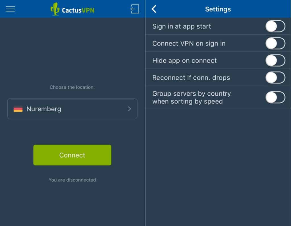 CactusVPN mobile app main screen and settings options.