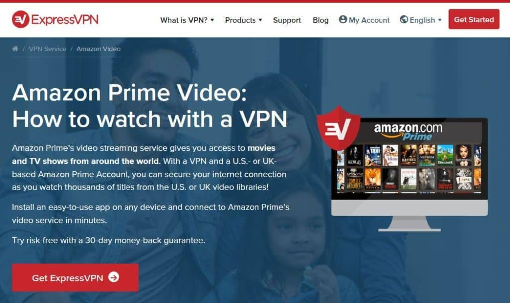 ExpressVPN Amazon Prime Video page.