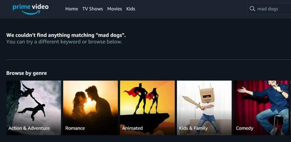 Prime Video search.