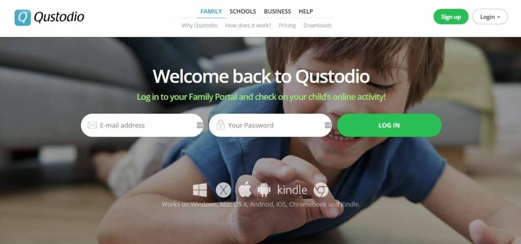 Qustodio homepage.