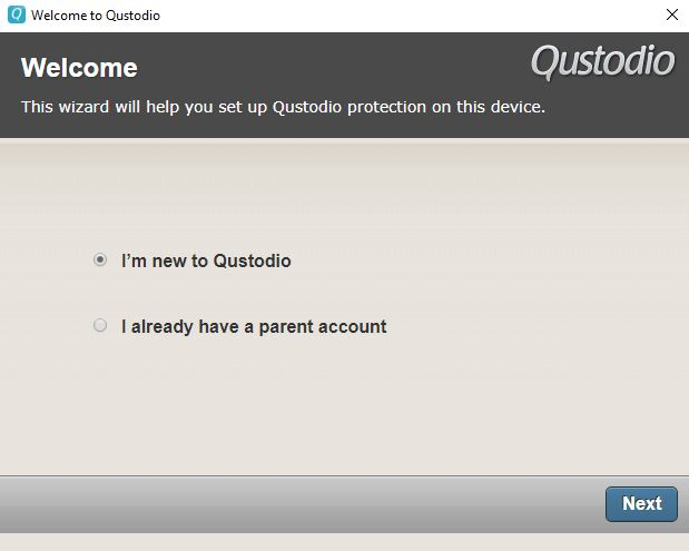 The Qustodio setup wizard.