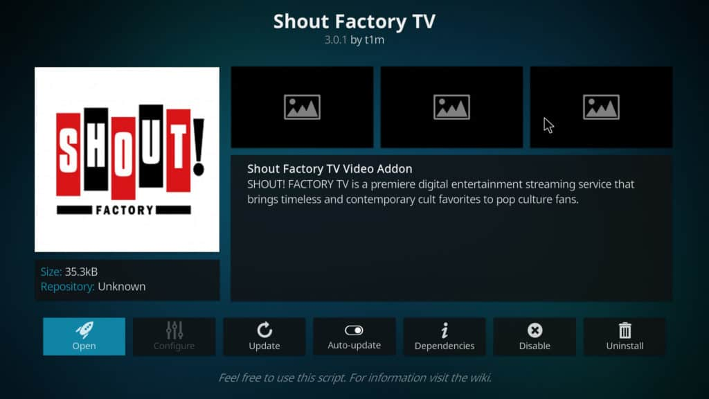 shout factory tv kodi addon