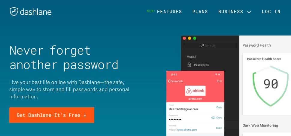 Dashlane homepage.