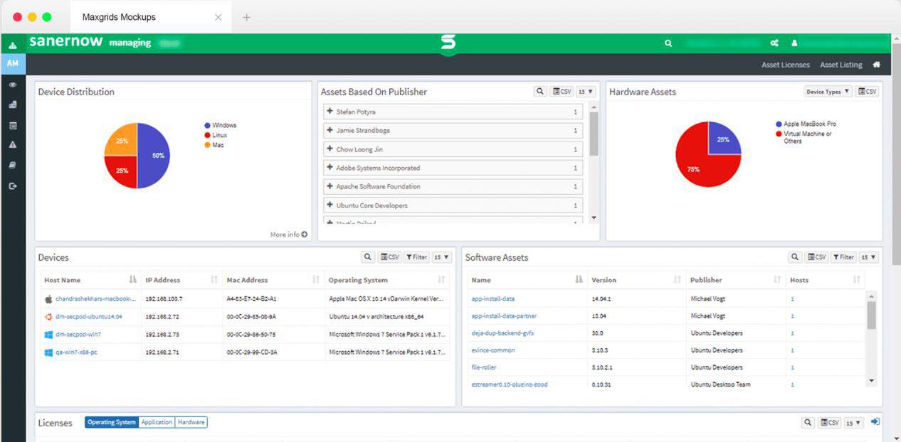 SecPod Saner Now VM Devices and Assets