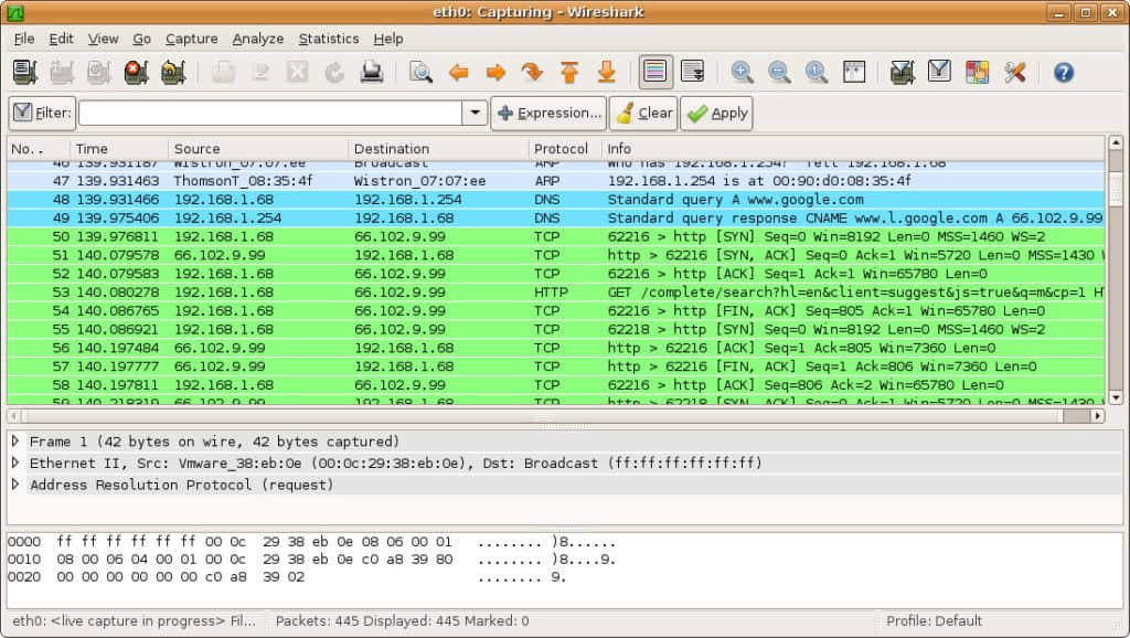 Wireshark screenshot