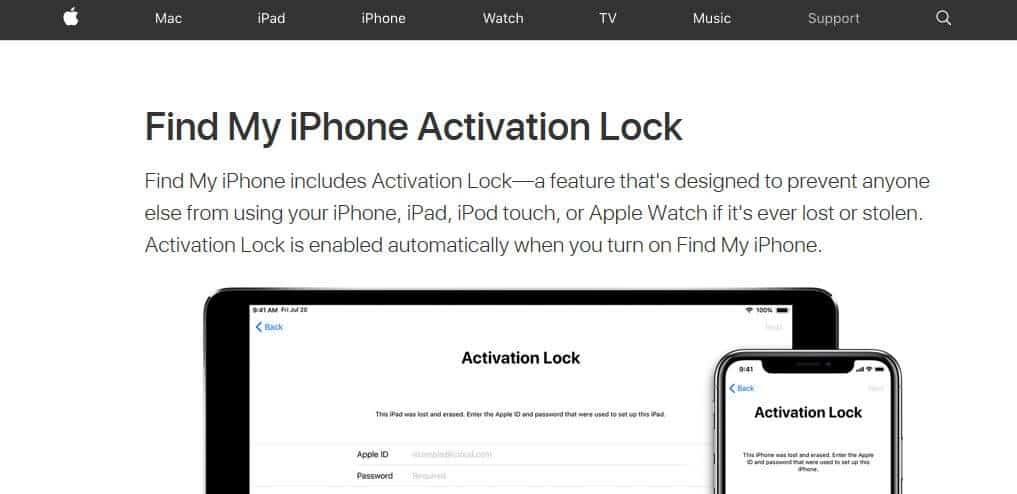 iOS Activation Lock homepage.