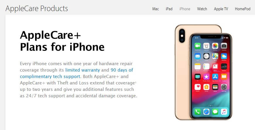 AppleCare+ homepage.
