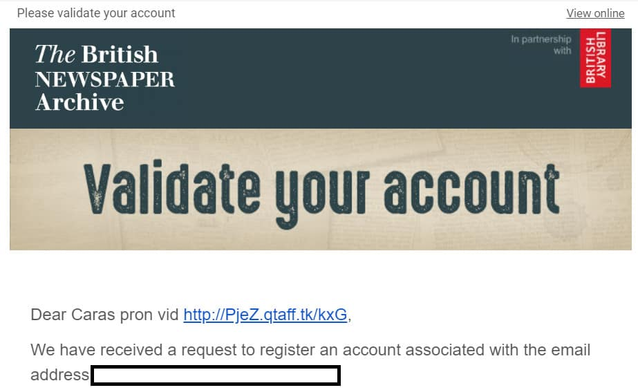 validation email phishing scam