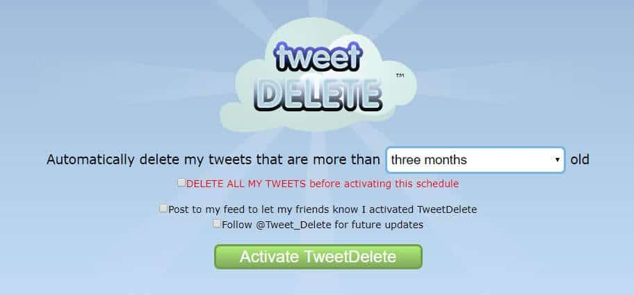 Activate TweetDelete page.