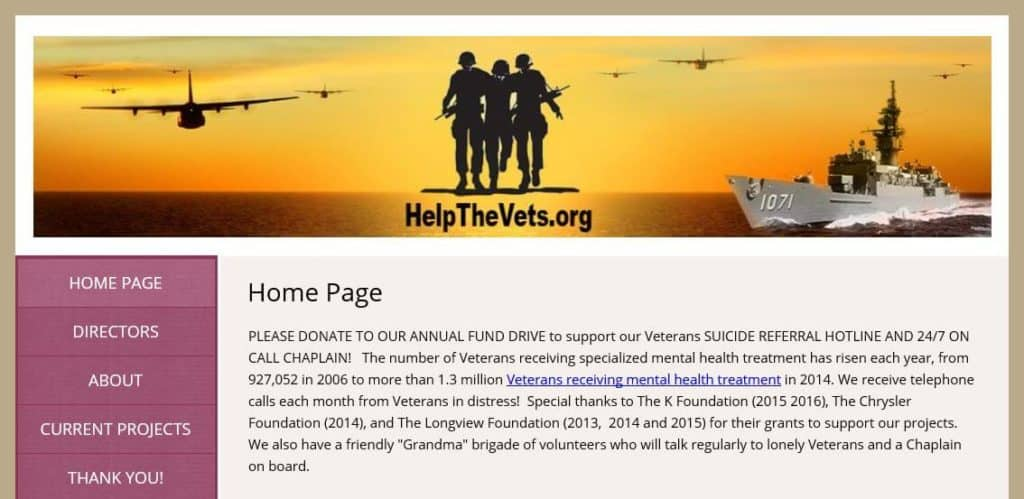 HelpTheVets homepage.