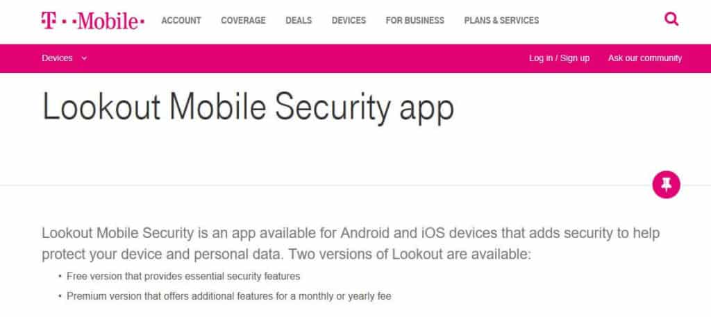 T-Mobile Lookout Mobile Security app.
