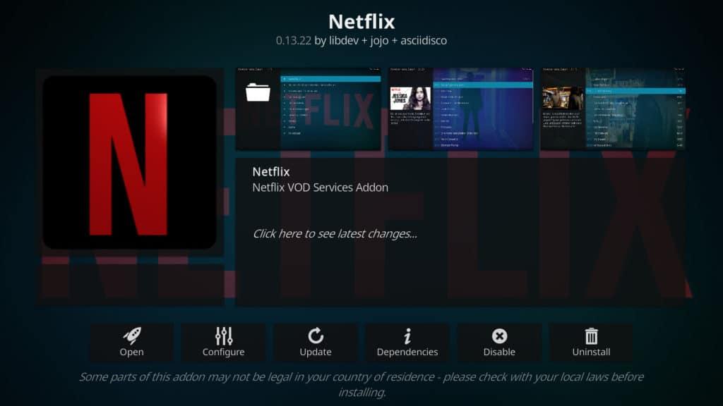 Netflix Kodi addon