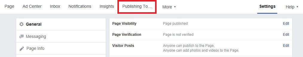 Facebook settings.