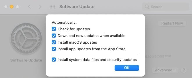 Software update preferences.