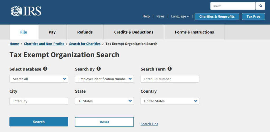 IRS Tax Exempt Organization Search.