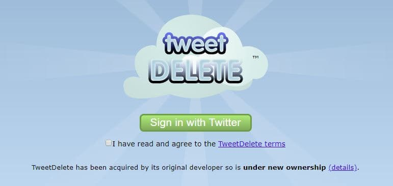 TweetDelete homepage.