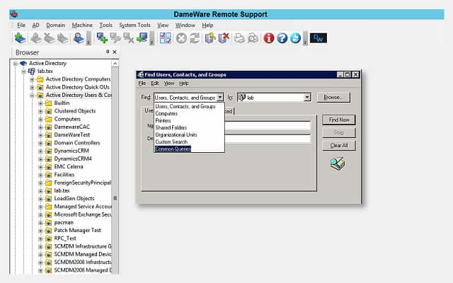 Dameware Active Directory control