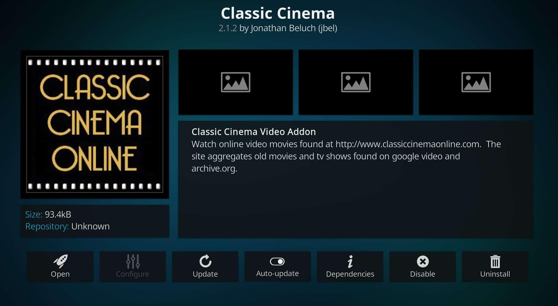 Classic cinema Kodi addon