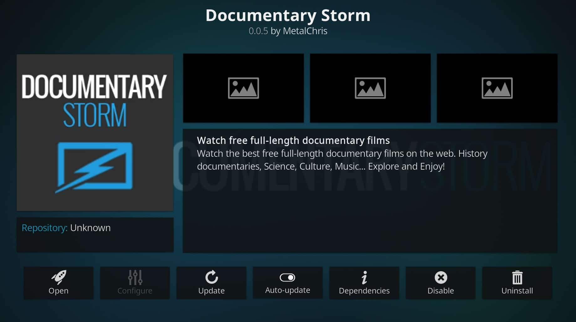 documentary storm addon