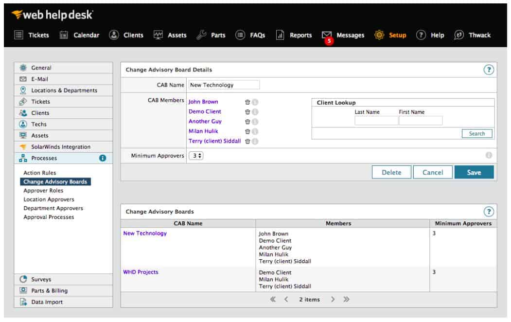 SolarWinds Web Help Desk - Setup view