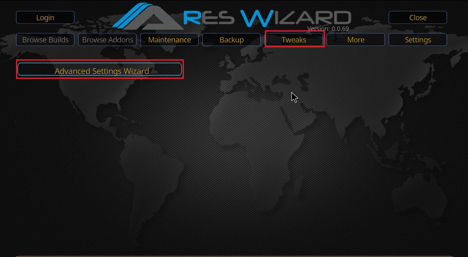 Ares wizard settings