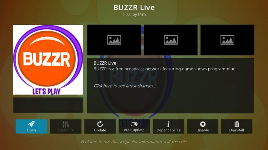 buzzr live kodi addon