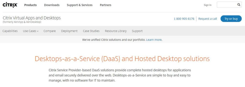 Citrix homepage.