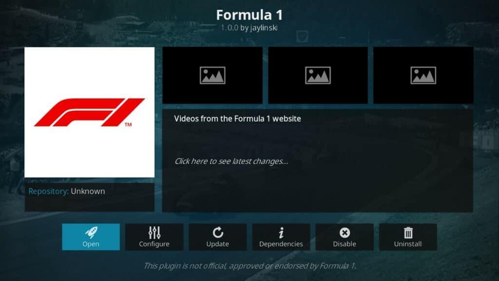 Formula 1 2020 Kodi addon