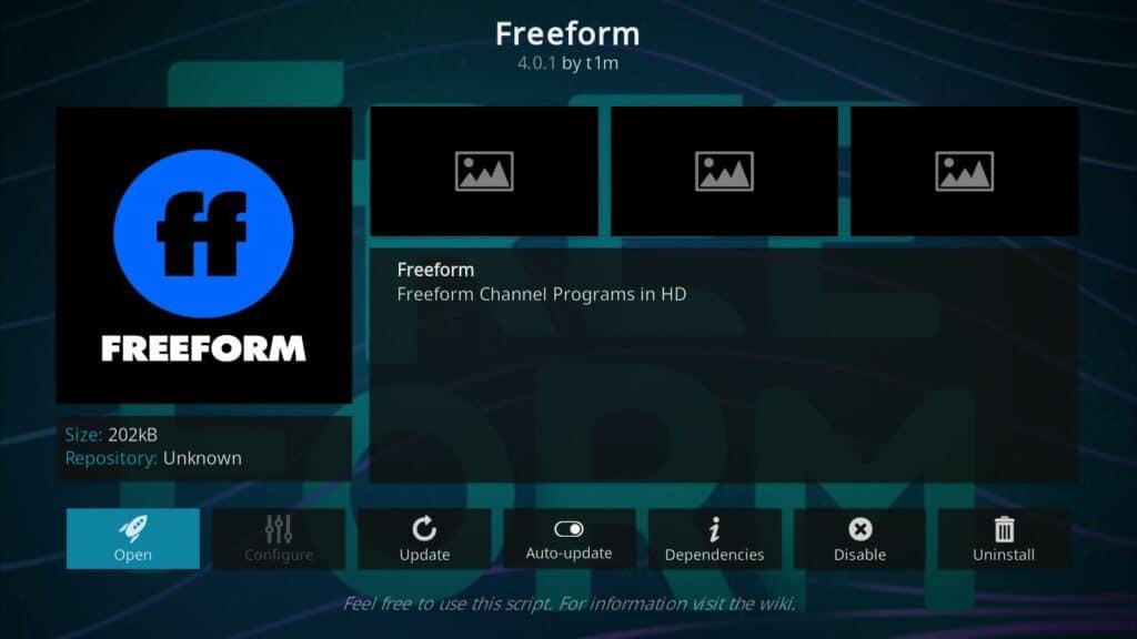 freeform kodi addon