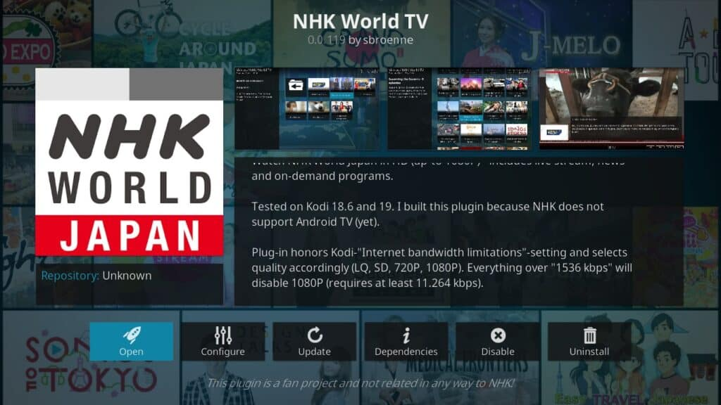 NHK World TV Kodi Addon