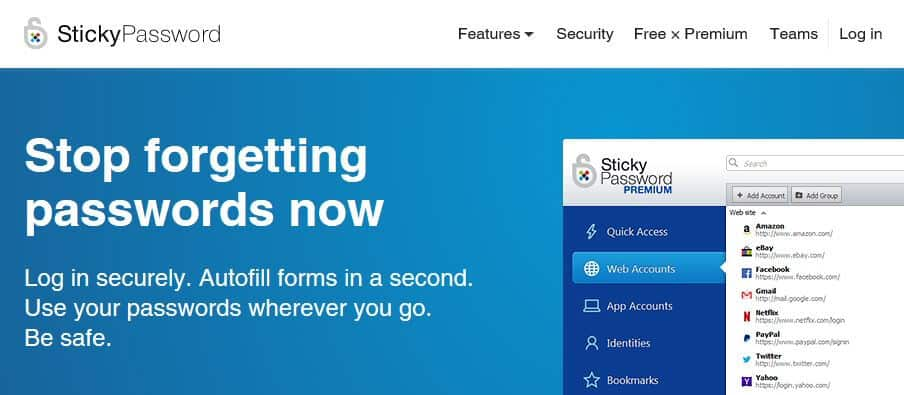 Sticky Password homepage.