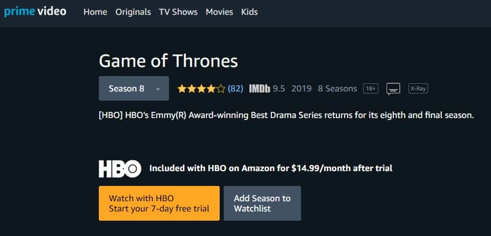 Amazon Prime Video Game of Thrones