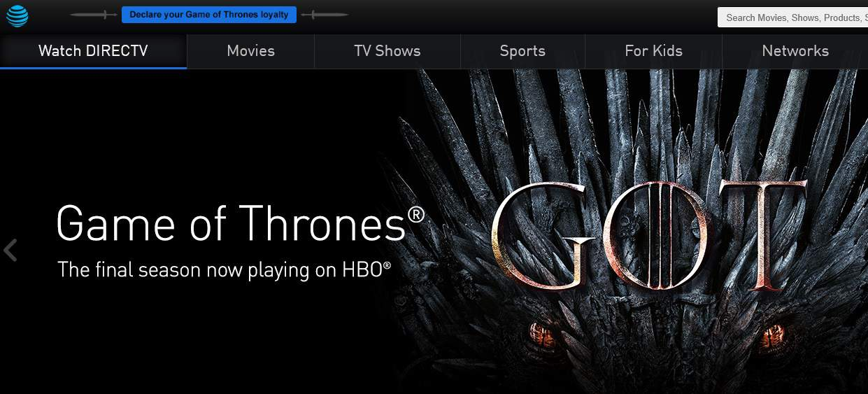 DirecTV Now Game of Thrones