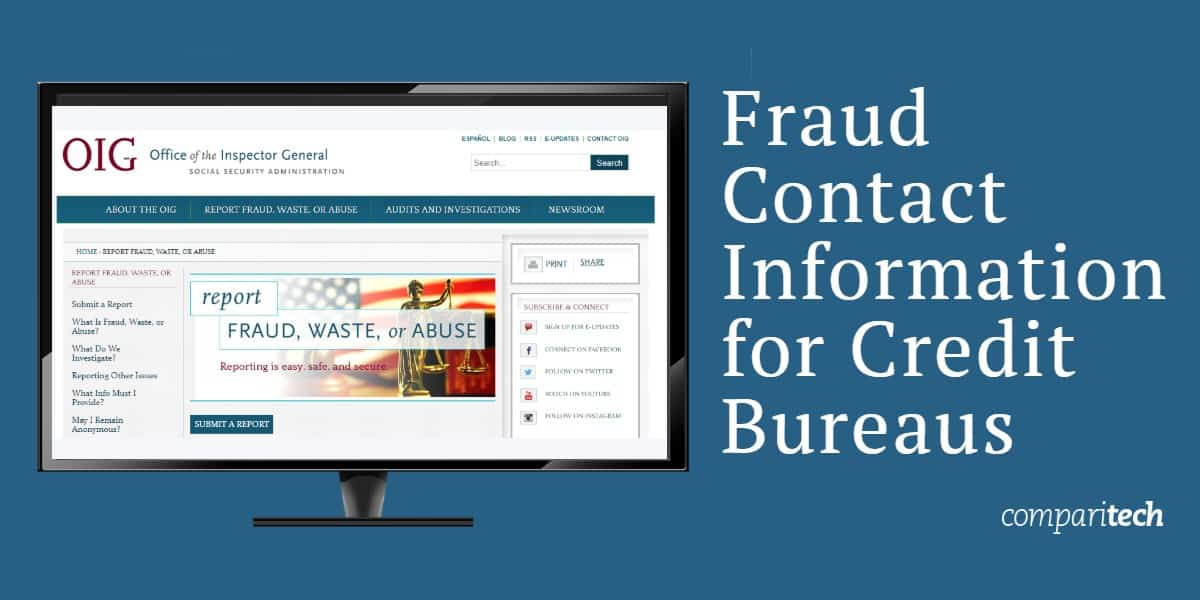 Fraud Contact Information for Credit Bureaus