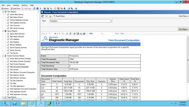 Metalogix Diagnostic Manager screenshot