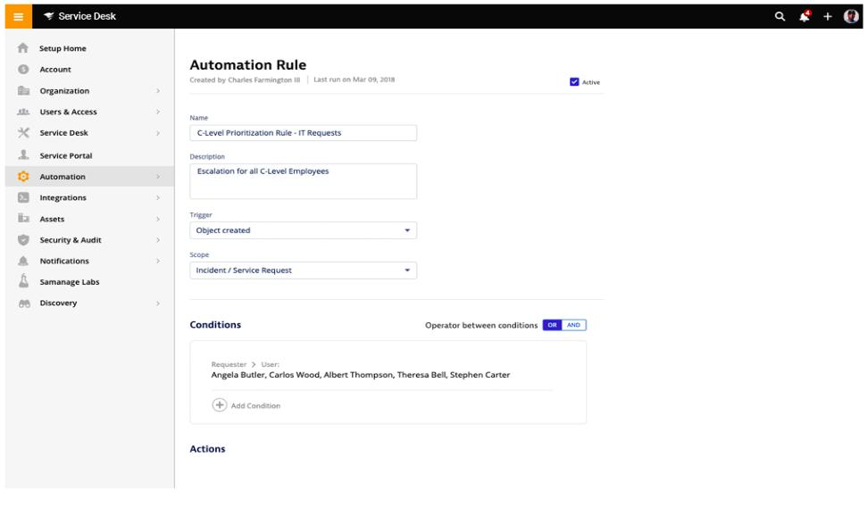 SolarWinds Service Desk - Automation Rule view
