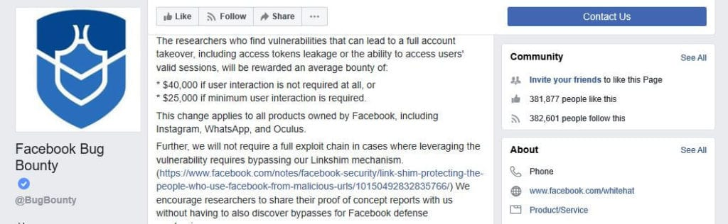 Facebook account takeover fraud bounty.